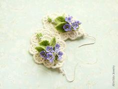 English Violet - OOAK Earrings - Wedding Style. $185.00, via Etsy.