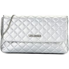 Love Moschino Clutch ($140) ❤ liked on Polyvore featuring bags, handbags, clutches, silver, metallic purse, strap purse, metallic clutches, love moschino handbags and white clutches