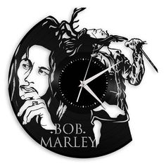 Bob Marley clock made out of new vinyl record will add music theme and modern tone to your walls. It will fit perfect in living room, bedroom or kitchen and reminds you daily about your favorite artist. Perfect gift idea for music lovers! It comes naturally in black vinyl record color. If black color is not your favorite, we can coat it in different color. Please make a selection when placing order. All our products are cut with precision and attention to details. All wall art details are…