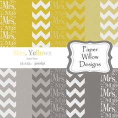 Mrs.Yellows .. 14 12x12 300dpi  Instant by PaperWillowDesigns, $4.25