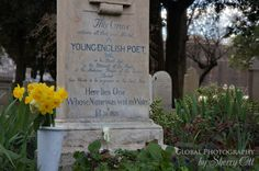 "A pinner said: A beautiful shot of Keats' grave, Protestant Cemetery, Rome. His name is not mentioned, just ""Young English Poet."" He was just 25, but he already had a pretty nice house in Hampstead, London, which I have visited."