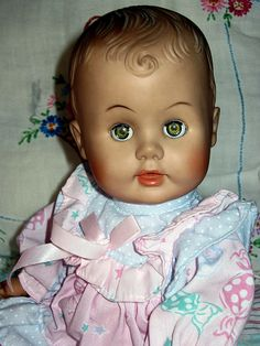 old doll This looks like my baby doll from about 1956-57.  I had it until the house fire in 2002 where she got completely smoked!