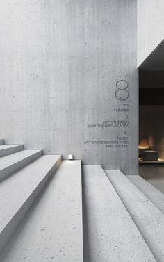 Concrete Architects on Behance Architecture Details, Interior Architecture, Interior And Exterior, Wayfinding Signage, Signage Design, Koshino House, Wall Design, House Design, Beton Design