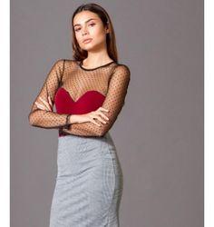 Μακρυμάνικο Κορμάκι από Τούλι Πουά - Μπορντό Two Piece Skirt Set, Skirts, Tops, Dresses, Women, Fashion, Vestidos, Moda, Skirt