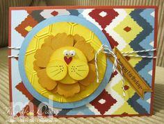Punch Art Lion card - Parker's patterns Designer Paper and Honeycomb Embossing folder