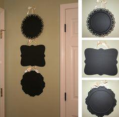 Dollar store platters covered in chalkboard paint. diy-ideas