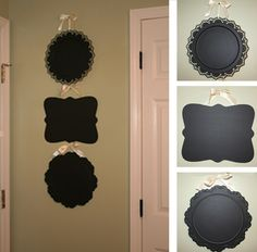 Dollar store platters covered in chalkboard paint. diy-ideas