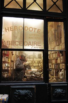 Old books store in Lyon, France (books man by bellisario :: photography, via Flickr)