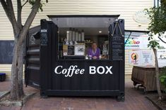 container coffee shop Sharon Sweeney at the Coffee Box - ABC News (Australian Broadcasting Corporation) Coffee Box, Coffee Stands, Coffee Truck, Coffee Carts, The Coffee, Cafe Shop Design, Kiosk Design, Cafe Interior Design, Small Coffee Shop