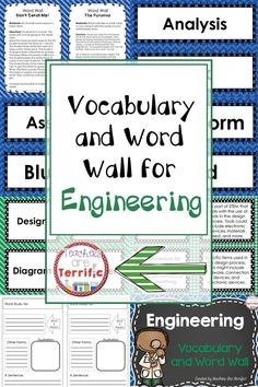 Fantastic teacher time saver! Here's a ready-made vocabulary set featuring word wall strips and small flash cards. Includes game ideas with instructions and graphic organizers! All About Engineering!