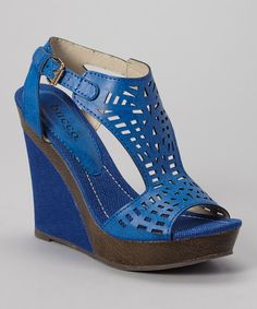 Take a look at this Blue Pierce Wedge Sandal on zulily today!