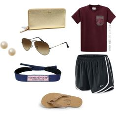 """Errands"" by kristinalvhs on Polyvore t-shirt nike tempo shorts rainbow flip-flops vineyard vines aviators pearls"