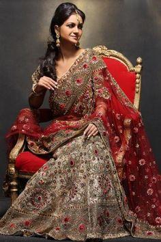 #Red #Heavybordered #Wedding #Lehenga
