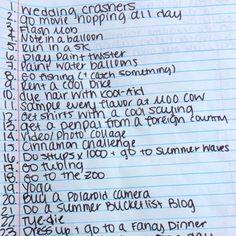 Summer bucket list 2012