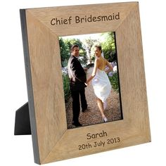 A photo frame is the perfect gift for highlighting great wedding memories. This oak veneer wood frame is engraved with 'Our Wedding Day' and any message to create a personalised wedding gift that the Bride and Groom will cherish. Engraved Wedding Gifts, Wedding Gifts For Bride And Groom, Engraved Gifts, Father Of The Bride, Our Wedding Day, Bride Gifts, Personalized Wedding, Personalized Gifts, Wedding Ideas