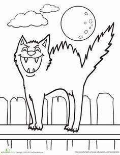 Don't cross the black cat's path! #Halloween #coloringpage