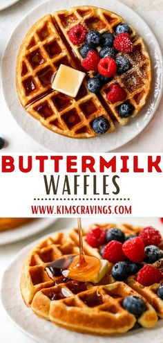 Start your day off with a warm mug of coffee and homemade buttermilk waffles and everything is just right with the world. This buttermilk waffles recipe is easy to make and results in fluffy waffles that are perfectly crisp on the outside, soft on the inside, and filled with the most delicious buttery flavor! The best addition to any breakfast or brunch spread! Paleo Waffles, Banana Waffles, Fluffy Waffles, Buttermilk Waffles, Gluten Free Waffles, Homemade Buttermilk, Pancakes, Easy Brunch Recipes, Delicious Breakfast Recipes