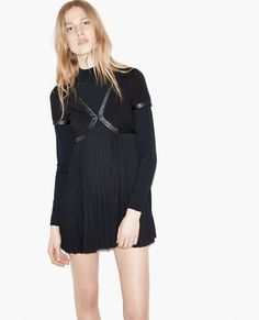Pleated dress with leather details. - Dresses - The Kooples