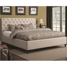 LOOOOOOOVE THIS BED!  Upholstered Beds King Upholstered Bed with Tufted Headboard and Turned Wood Feet