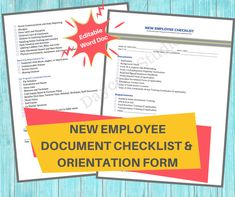 This is a digital downloadable Employee Document Checklist and Orientation Form to be used for new teachers and staff upon hiring. This form should be signed by the new employee and placed in their file. This complete printable orientation form is designed for licensed childcare centers, in home daycares, and preschools. Parent Handbook, Employee Handbook, New Employee, Preschools, Daycare Contract, Opening A Daycare, Alphabet Writing Practice, Starting A Daycare, Training Certificate