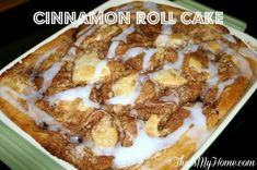 Lightened Up Cinnamon Roll Swirl Cake from Recipes, Food and Cooking  #cinnamonrollcake #coffeecakerecipes