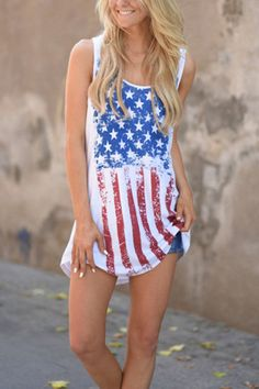 Who doesn't love a top full of personality? The flag print cami top is a perfect casual top featuring a sexy style. Style it with white shorts and a fedora hat for a fresh look. Spring Summer Fashion, Spring Outfits, Spring Clothes, Teen Girl Fashion, Womens Fashion, Casual Tops, Clothes For Women, Tank Tops, My Style
