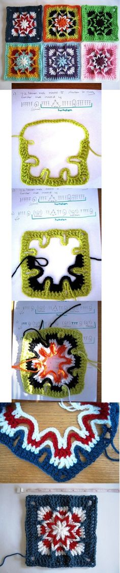 interesting technique for this crochet granny square!!! by Ink-de-l'Art