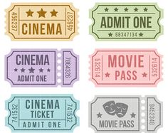 Cinema Tickets Digital Clip Art for Scrapbooking Card Making Cupcake Toppers Paper Crafts Owl Clip Art, Cinema Ticket, Barbie Miniatures, Art Hub, How To Make Cupcakes, Journal Template, Aesthetic Stickers, Planner, Printable Stickers
