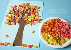 How to make colored pumpkin seed art Recycled Crafts Seed Art For Kids, Seed Crafts For Kids, Easy Toddler Crafts, Thanksgiving Crafts For Kids, Autumn Crafts, Preschool Crafts, Diy For Kids, Pumpkin Seed Crafts, Halloween Crafts To Sell