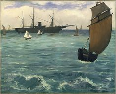"""""""Fishing Boat Coming in Before the Wind"""" by French artist - Édouard Manet Oil on canvas, x cm.), Metropolitan Museum of Art - New York, New York, USA. *Note: Also known as """"The Kearsarge at Bologne"""". Claude Monet, Camille Pissarro, National Gallery Of Art, Art Gallery, Metropolitan Museum, Edouard Manet Paintings, Oil On Canvas, Canvas Art, Paul Cézanne"""