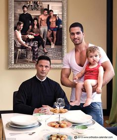 A new calendar created by Romanian Orthodox Christians featuring muscular male models in steamy poses has been unveiled. The men behind the Romanian Orthodox 2014 calendar say it pays tribute to ga… Religion, Orthodox Calendar, Orthodox Priest, Orthodox Christianity, Love And Co, Gay Couple, Beautiful Family, Photo Sessions, Decir No