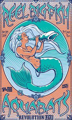 Reel Big Fish vs. Aquabats Poster - 2-Version Combo! Nouveau Mermaid