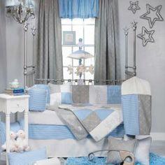 Decorative Blue Unisex Baby Boy/Girl Silver Gingham Nursery Crib Bedding Set in Baby, Nursery Bedding, Nursery Bedding Sets Baby Crib Bedding Sets, Nursery Crib, Crib Sets, Cot Bedding, Baby Boy Nurseries, Baby Cribs, Bed Bumpers, Boy Room, Room Decor