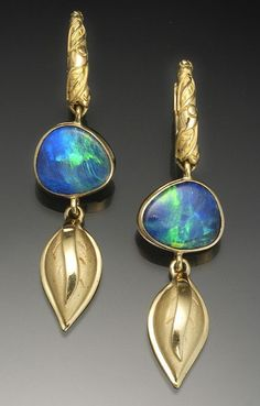 gold hoop earrings set with boulder opals by Conni Mainne Opal Earrings, Jewelry Art, Gemstone Jewelry, Vintage Jewelry, Fine Jewelry, Jewelry Design, Hoop Earrings, Unique Jewelry, Indian Jewelry