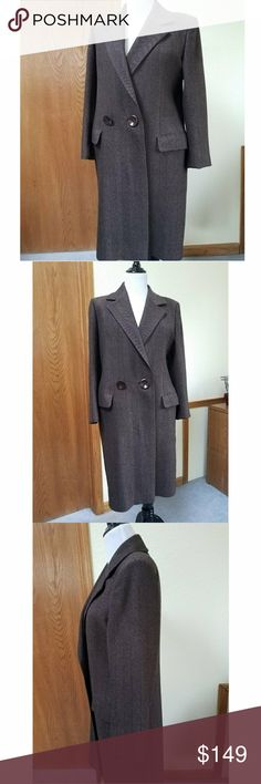 VTG Ferragamo Brn Wool Herringbone Coat The Salvatore Ferragamo quality is apparent in this vintage wool coat. There are 3 tiny holes in the wool, see pics in extra listing. Freshly dry cleaned. Measures 40 inches long from the shoulder seam, 19 inches at the waist, 21 inches at the hips, 18 inch sleeve. Ferragamo Jackets & Coats