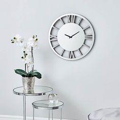 Glitter Mirrored 50cm Wall Clock Silver   Dunelm Silver Wall Clock, Mirror Wall Clock, Round Wall Mirror, Glitter Mirror, Wall Clock Brands, Skeleton Clock, Kitchen Wall Clocks, Frameless Mirror, Light And Space