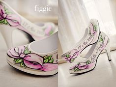 Pink and Green Handpainted Wedding Pumps by Figgie | www.figgieshoes.com