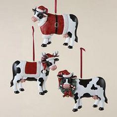 3-Piece Christmas Cow Ornament Set
