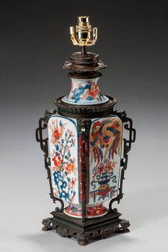 An Imari Square Section Vase Lamp (Ref No. 5505) - Windsor House Antiques