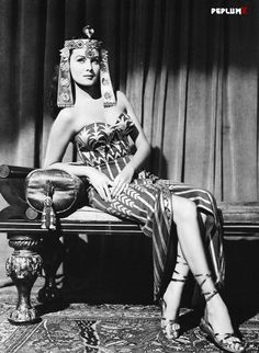 Rhonda Fleming, publicity shot for Serpent of the Nile. (1953) wearing a dress designed by Jean Louis