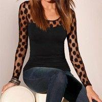 Wish | New Fashion Womens Long Sleeve Shirt Casual Sexy Mesh Dot Blouse Tops T-Shirt