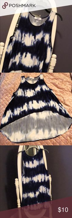 Hi-low tank Navy & white tie dyed tank top! Hi-low so it's raised in the front and flowy & long in the back! E.Leigh's Boutique brand (Local) E.Leigh's Tops Tank Tops