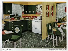 It's a daisy kitchen! Armstrong vintage ad files. Farmhouse Design, Rustic Farmhouse, Armstrong Flooring, Farmhouse Side Table, Vintage Windows, Vintage Interiors, Retro Home, Elegant Homes, Cool Rooms