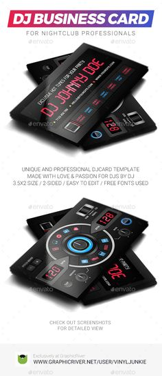Digital DJ Business Card Pinterest Dj business cards, Business