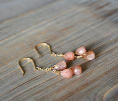 Sunstone Dangle Gemstone Gold Drop Earrings by happylittlegems