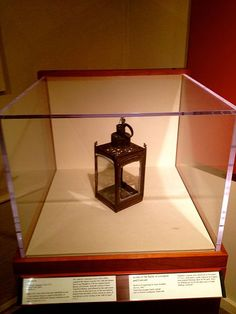 This is the lantern hung in the Old North Church on April 18, 1775, made famous due to Paul Revere's midnight ride to alert the towns outlying Boston of the British approach. The next day (April 19), the Battles of Lexington and Concord began the American Revolution. The lantern now resides in the Concord Museum, in Concord, Massachusetts, USA.