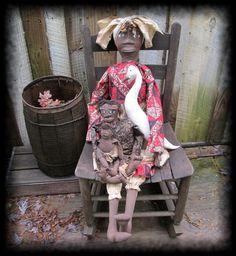 Primitive Folk Art Mammy Doll Set by GeorgiaRoadPrims on Etsy, $85.50