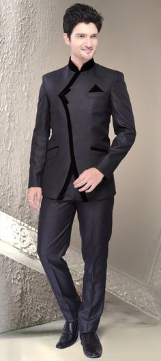 501204, Jodhpuri Suit, Imported, Thread, Black and Grey Color Family