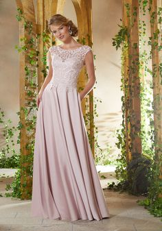 Shop Morilee's Beaded Lace Appliqués on Net with Silky Crepe. Silky Crepe Social Occasion Gown Featuring a Beaded Lace, V-Neck Bodice and Delicate Cap Sleeves. Mother Of The Bride Dresses Long, Mothers Dresses, Evening Dresses, Formal Dresses, Wedding Dresses, Wedding Attire, Mori Lee Dresses, Mori Lee Bridesmaid Dresses, Crepe Skirts