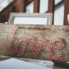 Lovely handmade details in this Cider Farm Wedding - like rad string art!